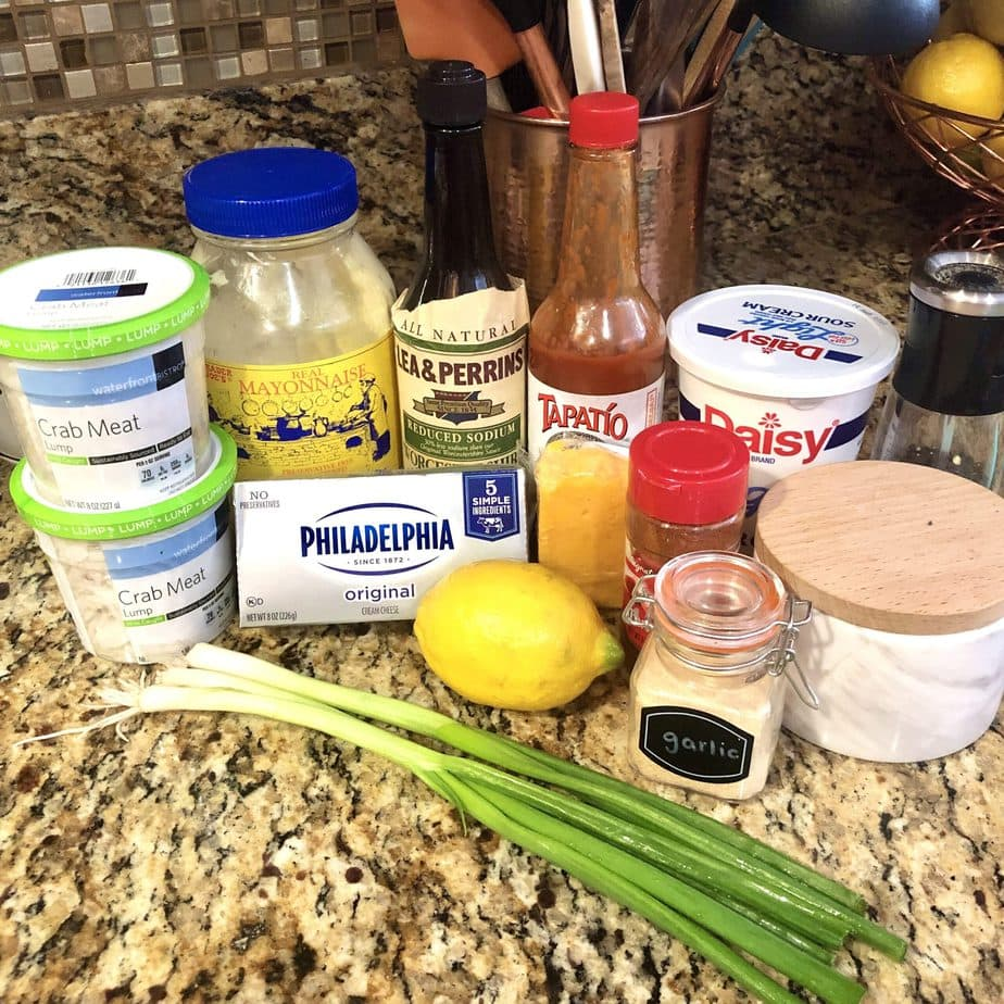 ingredients to make hot crab dip