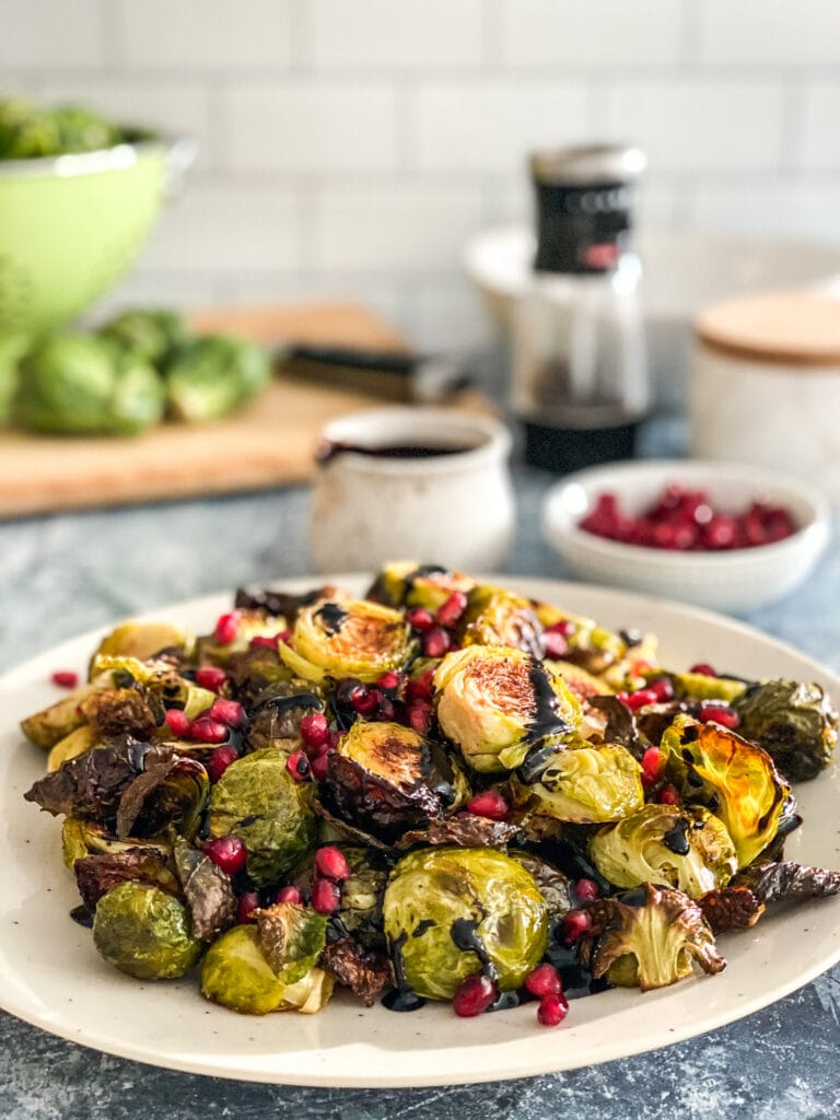 place of roasted Brussels sprouts with pomegranate seeds and balsamic reduction