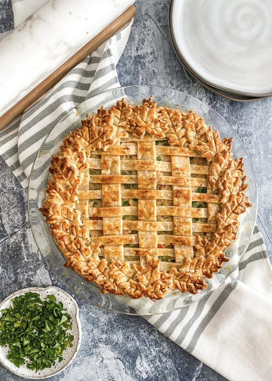 turkey pot pie baked with lattice crust