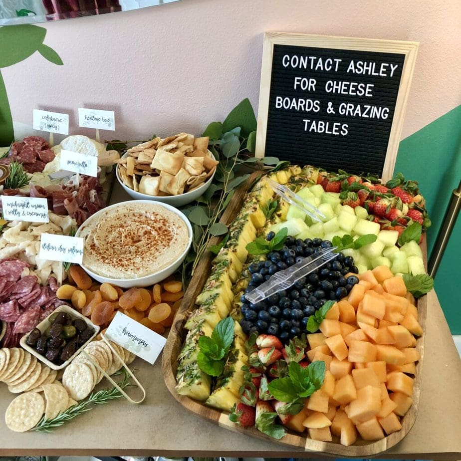 grazing table with fruit platter