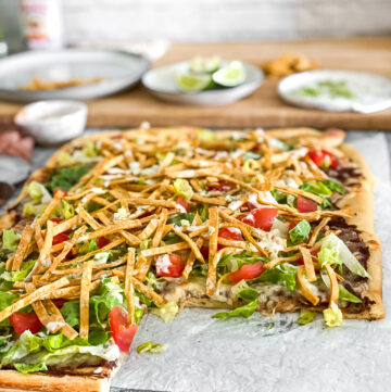 taco pizza side shot with slice missing