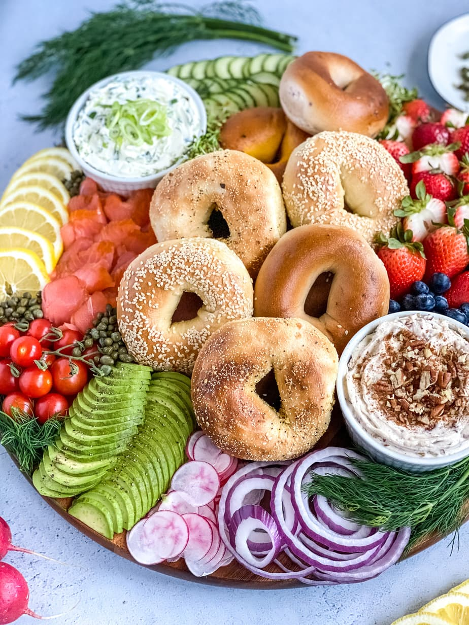 bagel board with homemade flavor cream cheese: scallion cream cheese and honey pecan cream cheese