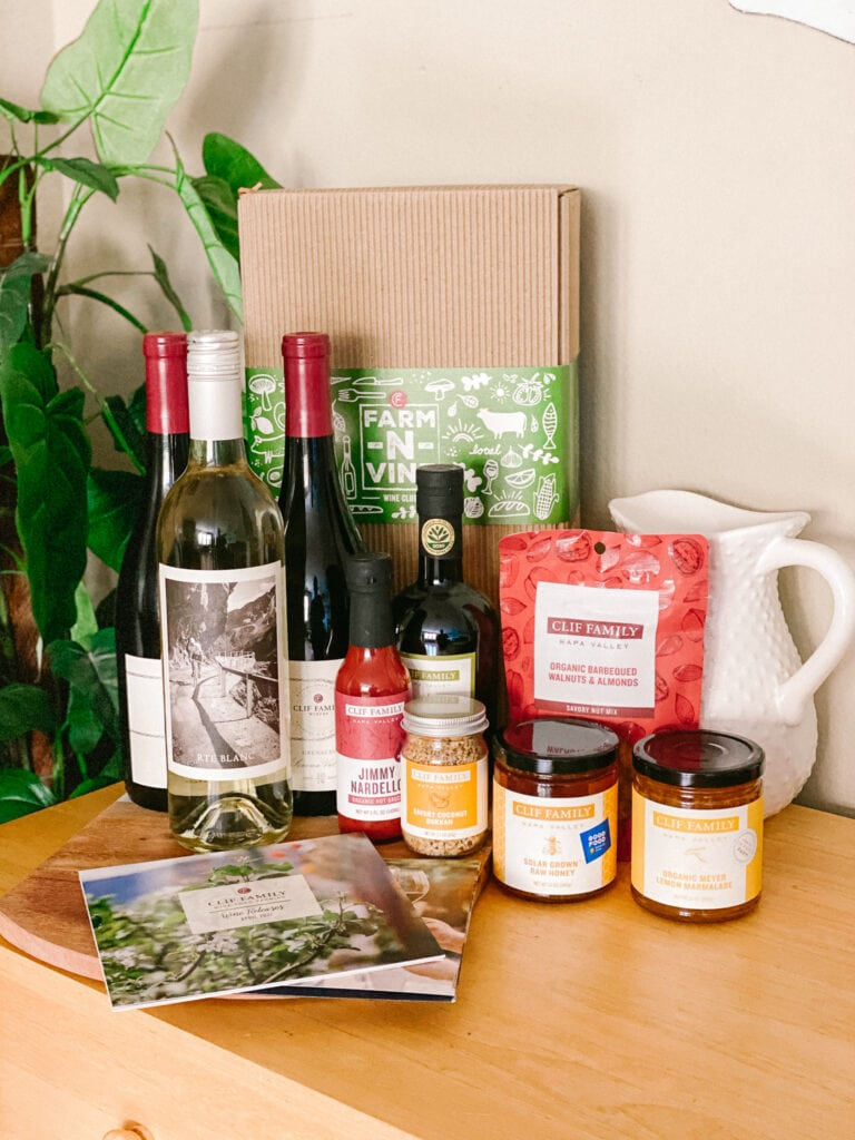Clif Family wine club shipment with bottles of wine and food items