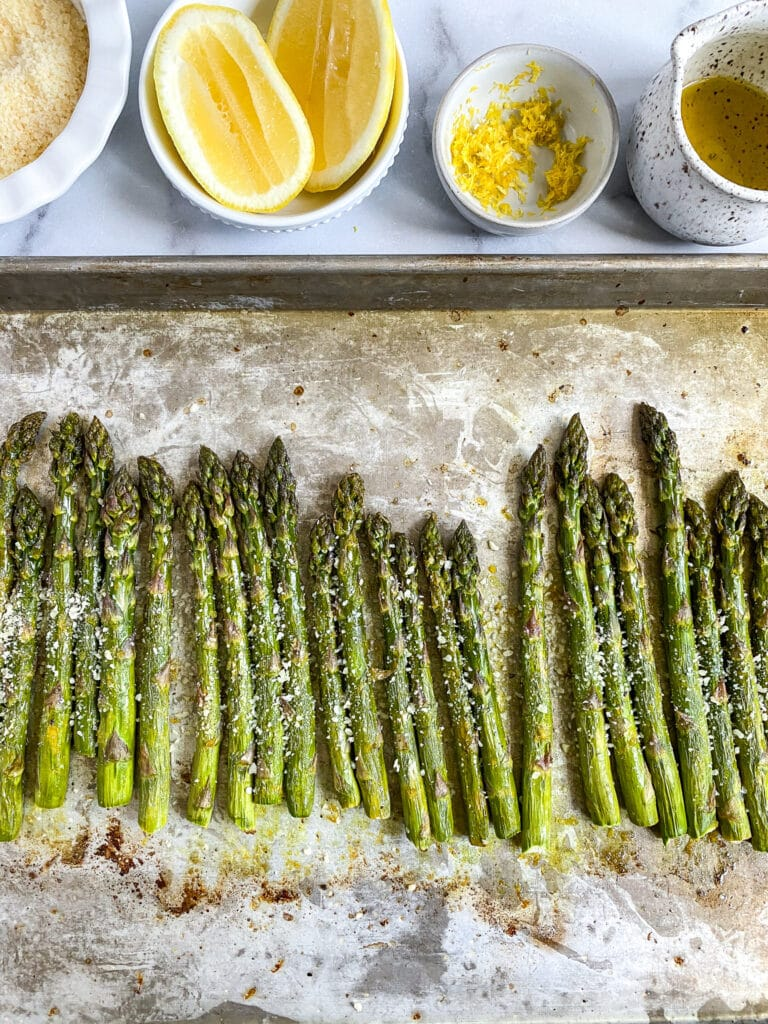 roasted parmesan asparagus after coming out of the oven