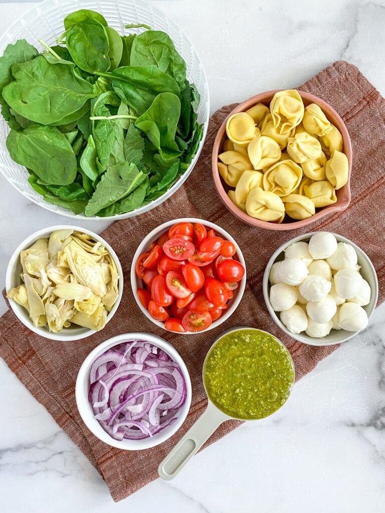 ingredients, measured out: spinach, tortellini, tomatoes, artichokes, mozzarella, red onion & pesto