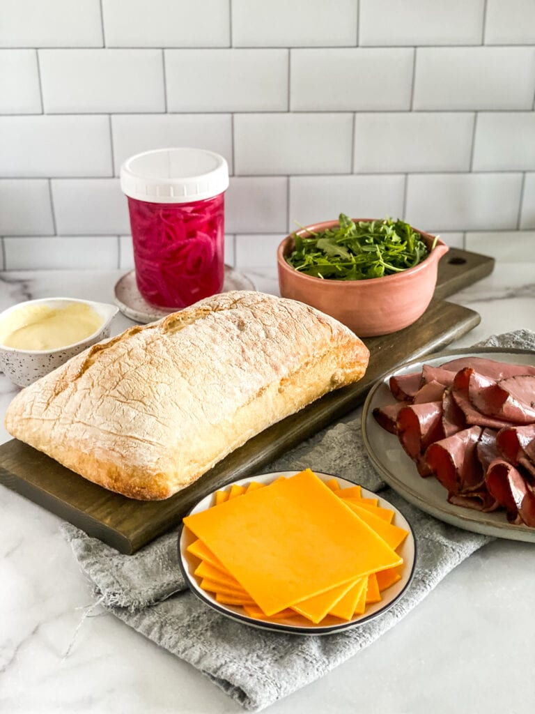 roast beef sandwich ingredients measured out.